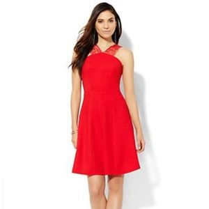 NWT New York & Company Red Lace Strap Dress